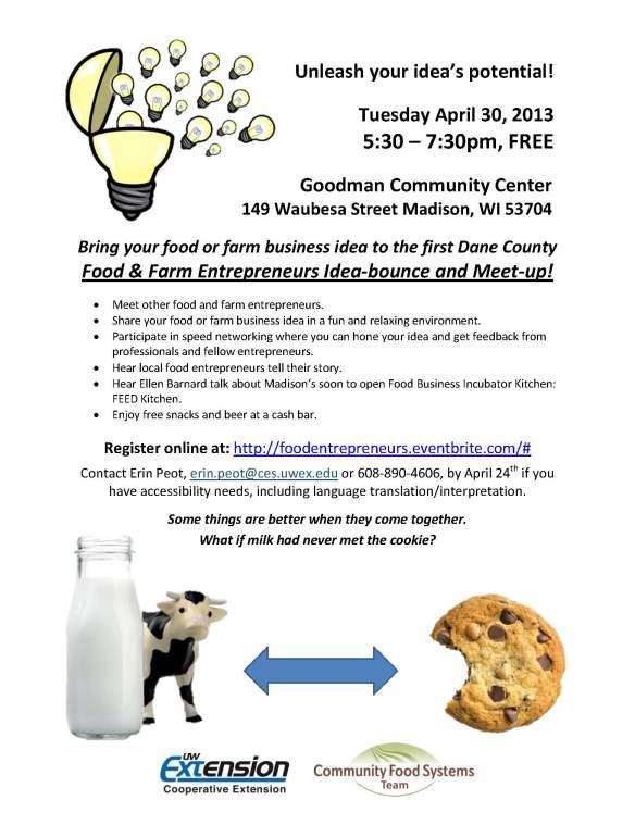 April 30 Food Farm Entrepreneur Idea Bounce Meet Up Flyer