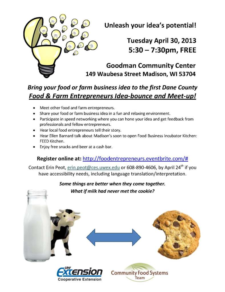 April 30 Food Farm Entrepreneur Idea Bounce Meet Up Flyer