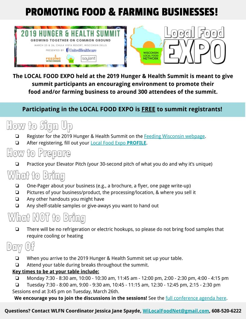 LOCAL FOOD EXPO during the 2019 Hunger & Health Summit – Wisconsin